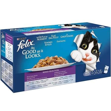 Purina Felix Fantastic comida para gato surtido variado Pack 44 x 100 g a 11,20€