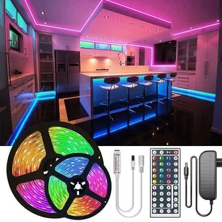 Fita Luzes LED 5mt RGB + comando + transformador a 4,56€