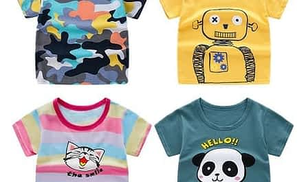 T-shirts de manga curta para crianças