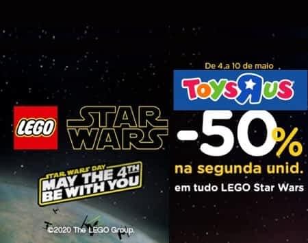 Promoção de 50% de desconto na segunda unidade lego Star Wars na ToysRUs